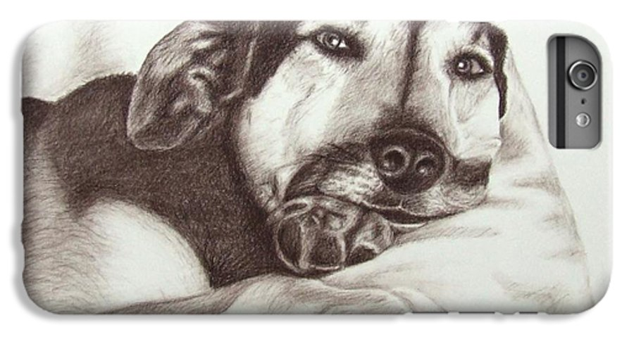 Dog IPhone 6s Plus Case featuring the drawing Shepherd Dog Frieda by Nicole Zeug