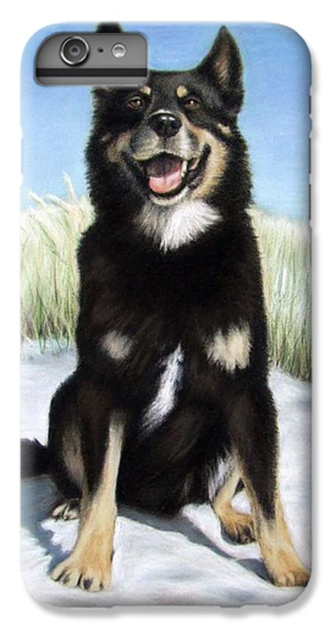 Dog IPhone 6s Plus Case featuring the pastel Shepherd Mix Timmy by Nicole Zeug