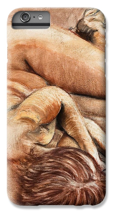 Nude IPhone 6s Plus Case featuring the drawing Slumber Pose by Kerryn Madsen-Pietsch