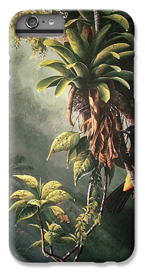 Chris Cox IPhone 6s Plus Case featuring the painting St. Lucia Oriole In Bromeliads by Christopher Cox