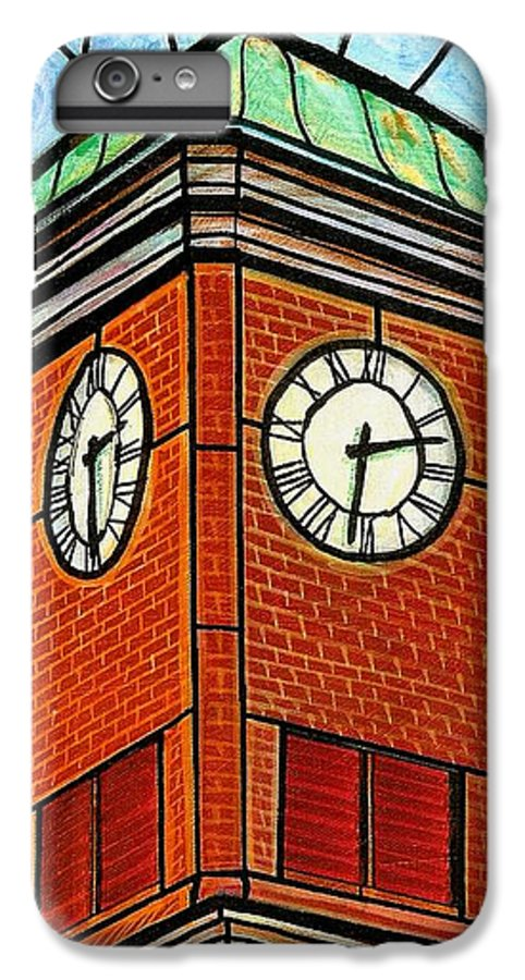 Clocks IPhone 6s Plus Case featuring the painting Staunton Clock Tower Landmark by Jim Harris