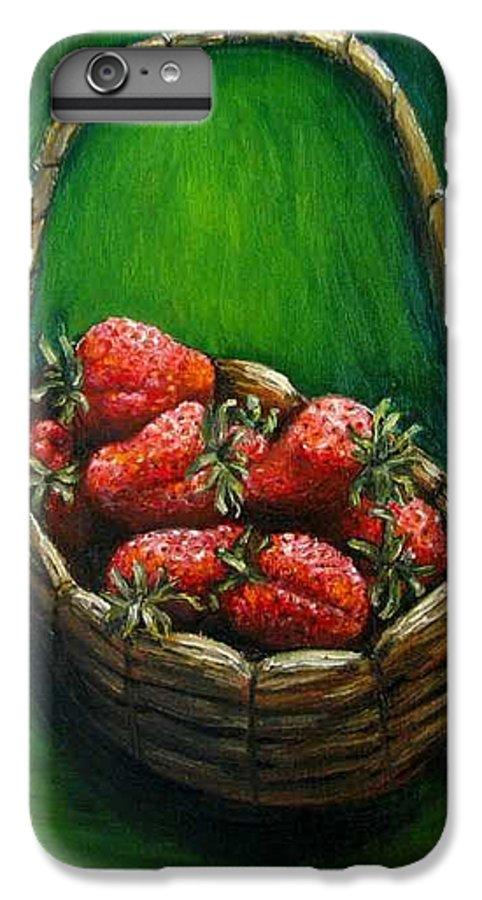 Strawberries IPhone 6s Plus Case featuring the painting Strawberries Contemporary Oil Painting by Natalja Picugina