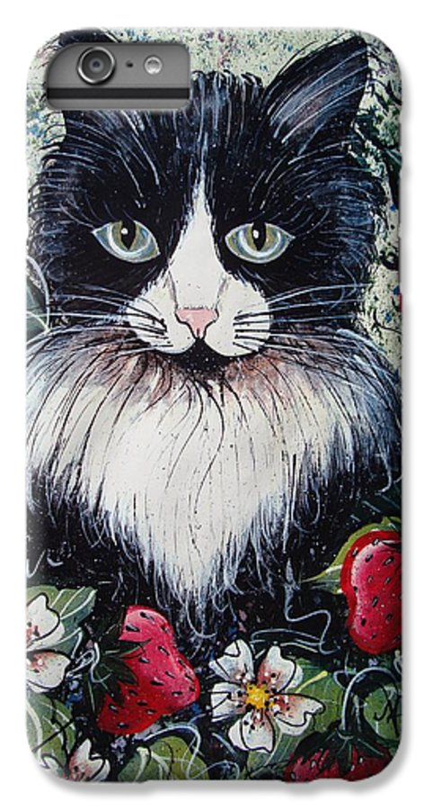 Cat IPhone 6s Plus Case featuring the painting Strawberry Lover Cat by Natalie Holland