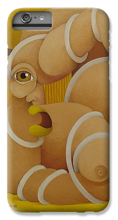Sacha IPhone 6s Plus Case featuring the painting Suffering Woman 2003 by S A C H A - Circulism Technique