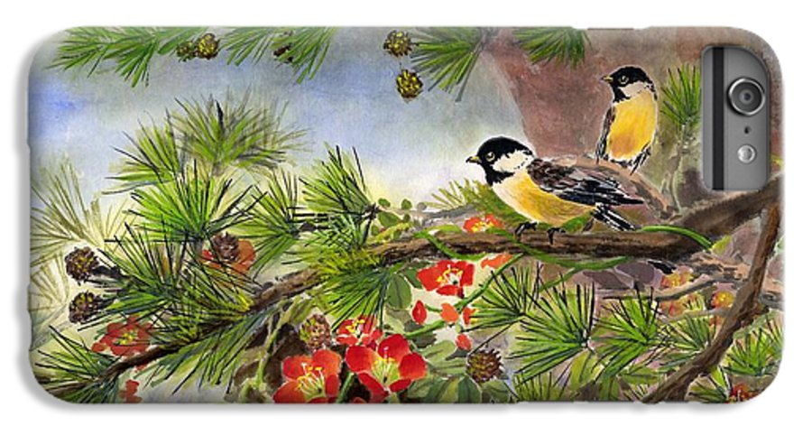 Chinese Trumpet Vine IPhone 6s Plus Case featuring the painting Summer Vine With Pine Tree by Eileen Fong