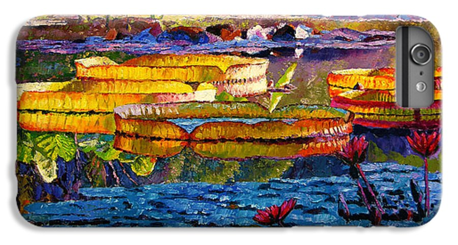 Water Lilies IPhone 6s Plus Case featuring the painting Sun Color And Paint by John Lautermilch