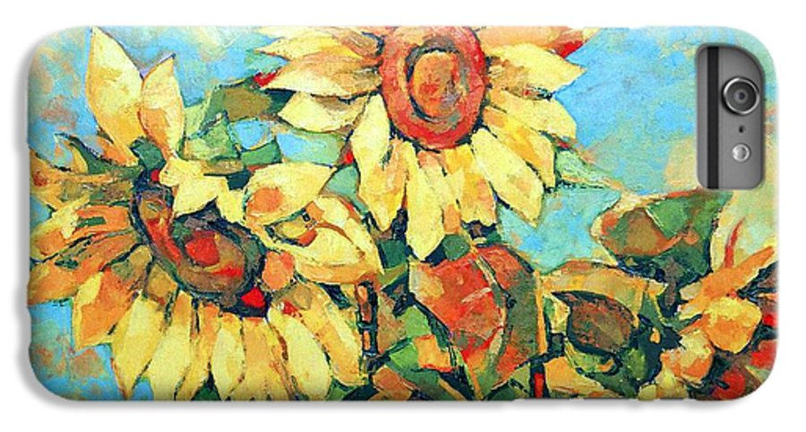 Sunflowers IPhone 6s Plus Case featuring the painting Sunflowers by Iliyan Bozhanov