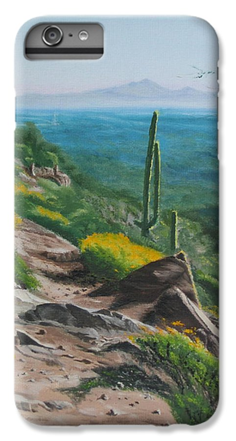 Landscape IPhone 6s Plus Case featuring the painting Sunrise Trail by Lea Novak