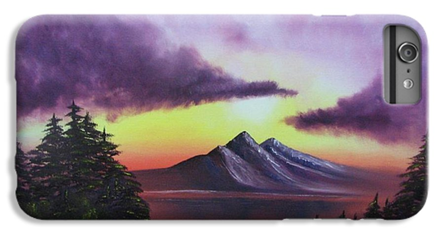 Sunset IPhone 6s Plus Case featuring the painting Sunset In Mountains Original Oil Painting by Natalja Picugina