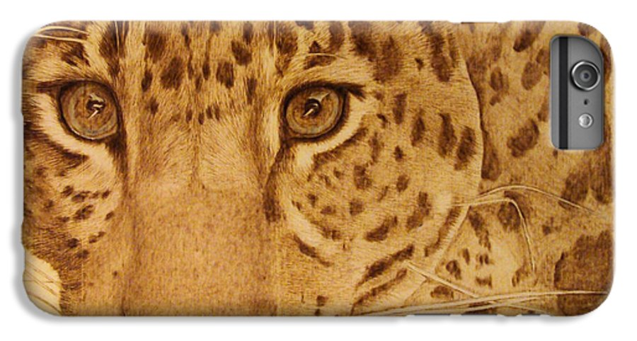 Jaguar; Sepia; Wild Life; Africa; Eyes; Zoo; Cat; IPhone 6s Plus Case featuring the pyrography Take One Step Closer by Jo Schwartz