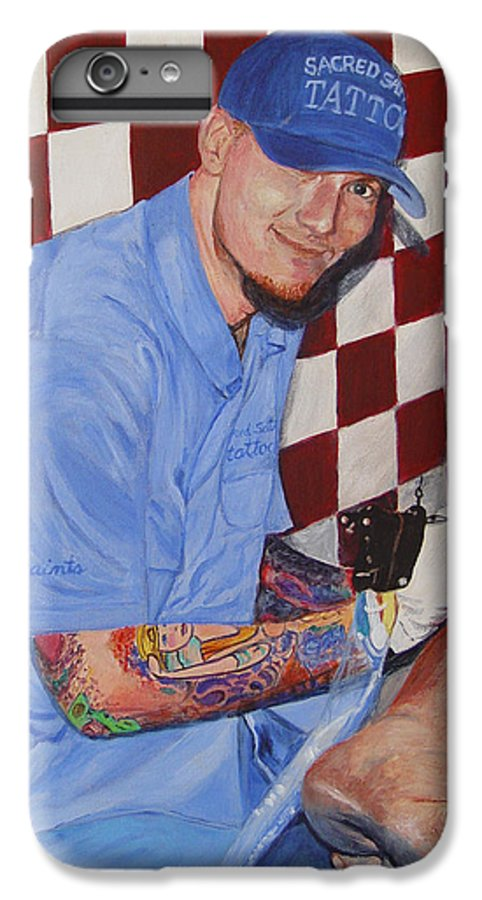 Tattoo IPhone 6s Plus Case featuring the painting Tattoo Artist - Brandon Notch by Quwatha Valentine