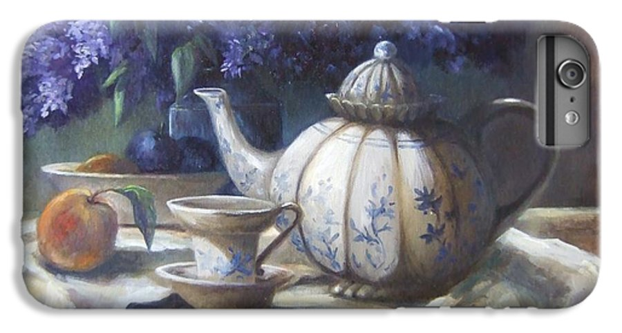 Teapot IPhone 6s Plus Case featuring the painting Tea And Lilacs by Ruth Stromswold