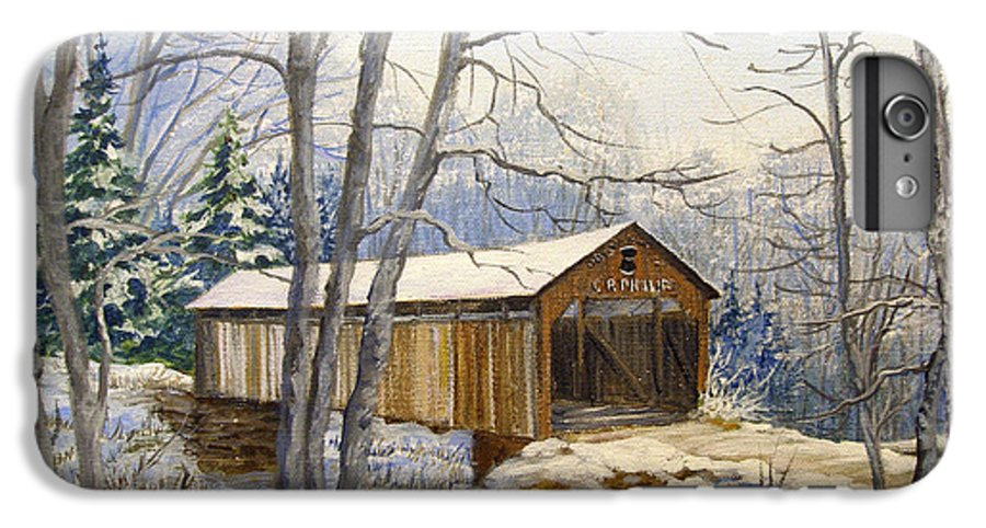 Oil Painting;bridge;covered Bridge;winter Scene;snow;landscape;winter Landscape; IPhone 6s Plus Case featuring the painting Teegarden Covered Bridge In Winter by Lois Mountz