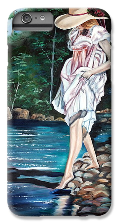 Vintage IPhone 6s Plus Case featuring the painting Testing The Water by Margaret Fortunato