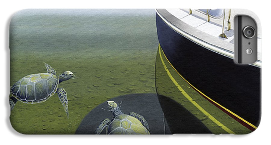 Sail Boat IPhone 6s Plus Case featuring the painting The Curiosity Of Sea Turtles by Gary Giacomelli