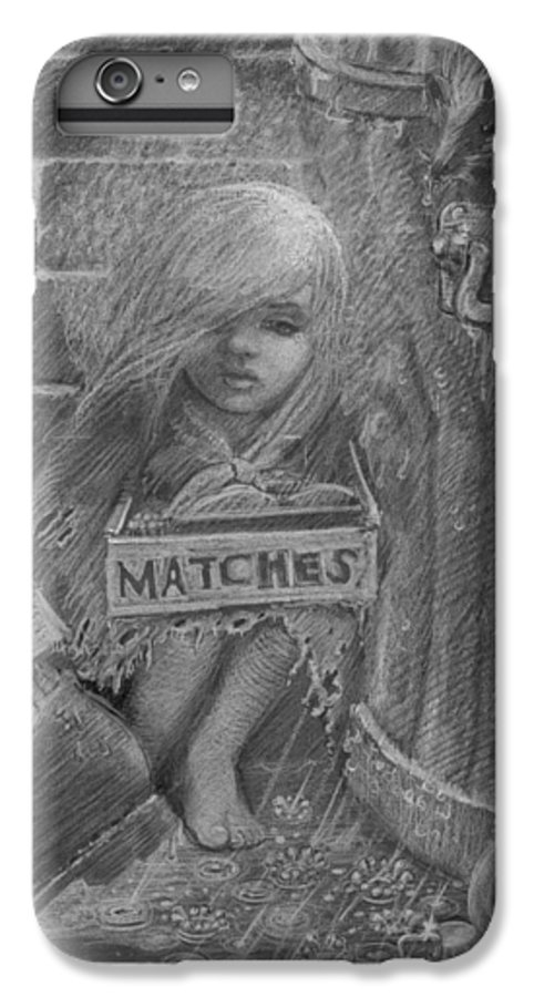 Hans Christian Andersen IPhone 6s Plus Case featuring the drawing The Little Matchseller by David Dozier