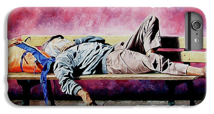 Figurative IPhone 6s Plus Case featuring the painting The Traveler 1 - El Viajero 1 by Rezzan Erguvan-Onal