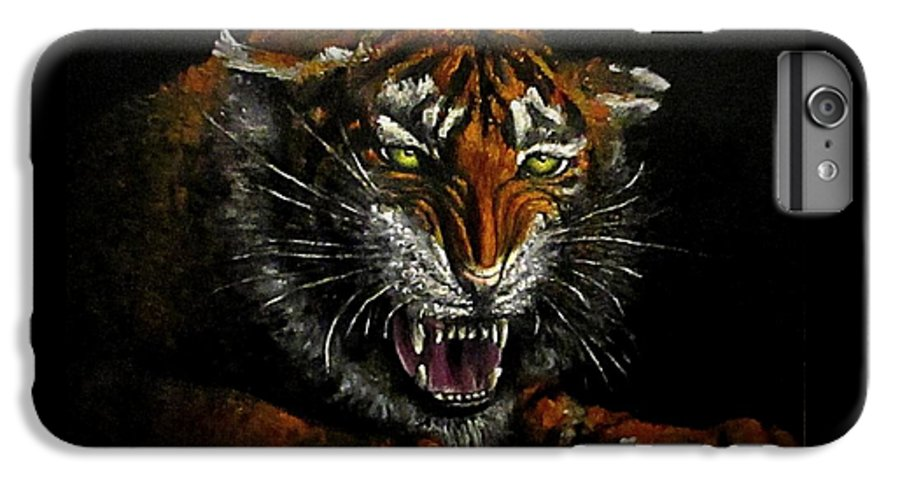 Animal IPhone 6s Plus Case featuring the painting Tiger-1 Original Oil Painting by Natalja Picugina