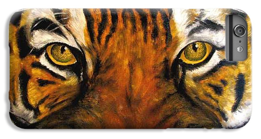Tiger IPhone 6s Plus Case featuring the painting Tiger Mask Original Oil Painting by Natalja Picugina