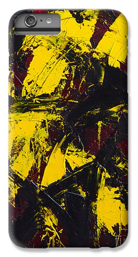 Abstract IPhone 6s Plus Case featuring the painting Transitions With Yelllow And Black by Dean Triolo