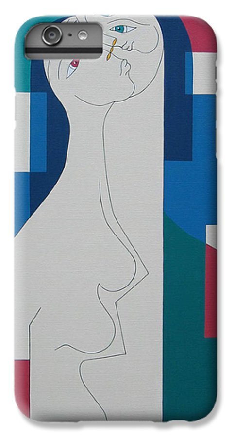 Modern Women Bleu Green Red Humor IPhone 6s Plus Case featuring the painting Trio by Hildegarde Handsaeme
