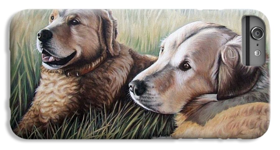 Dogs IPhone 6s Plus Case featuring the painting Two Golden Retriever by Nicole Zeug