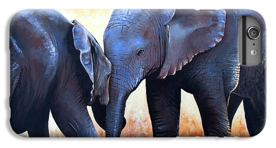 Elephants IPhone 6s Plus Case featuring the painting Two Little Elephants by Paul Dene Marlor