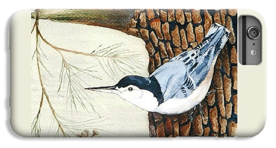 Nuthatch IPhone 6s Plus Case featuring the painting Upside Down by Debra Sandstrom