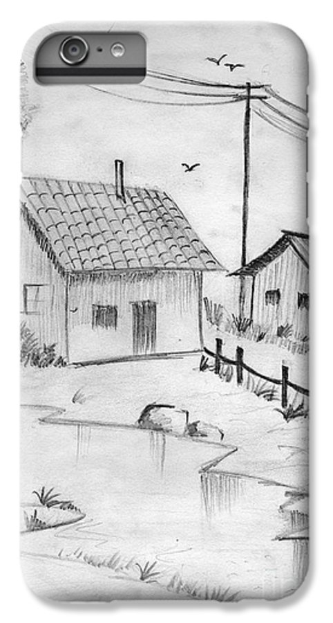 Pencil Drawing IPhone 6s Plus Case featuring the painting Urbanisation Of Villages - Gaon Chale Shahr Ki Oar by Tanmay Singh