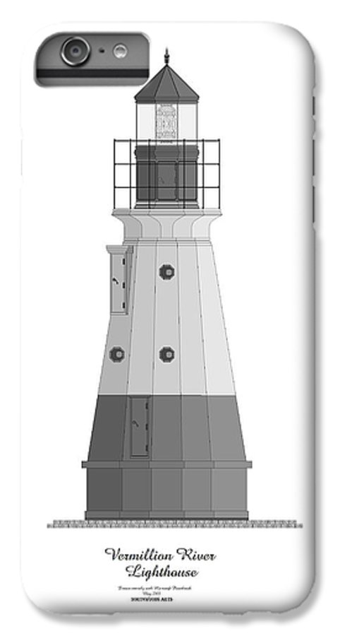 Lighthouse IPhone 6s Plus Case featuring the painting Vermillion River Lighthouse Architectural Rendering by Anne Norskog