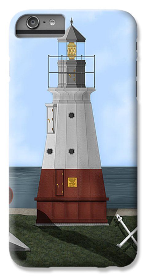 Lighthouse IPhone 6s Plus Case featuring the painting Vermillion River Lighthouse On Lake Erie by Anne Norskog