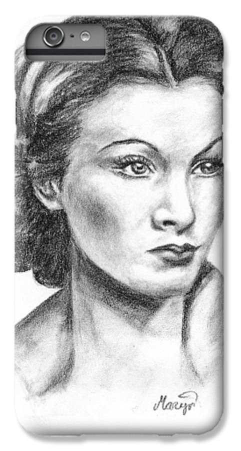 Vivien Leigh IPhone 6s Plus Case featuring the drawing Vivien Leigh by Maryn Crawford