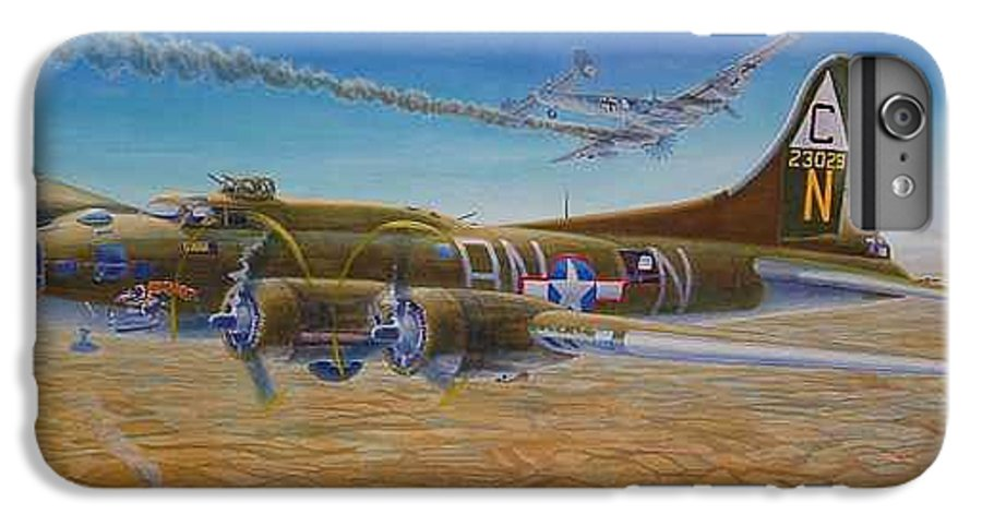 B-17 wallaroo Over Schwienfurt IPhone 6s Plus Case featuring the painting Wallaroo At Schwienfurt by Scott Robertson