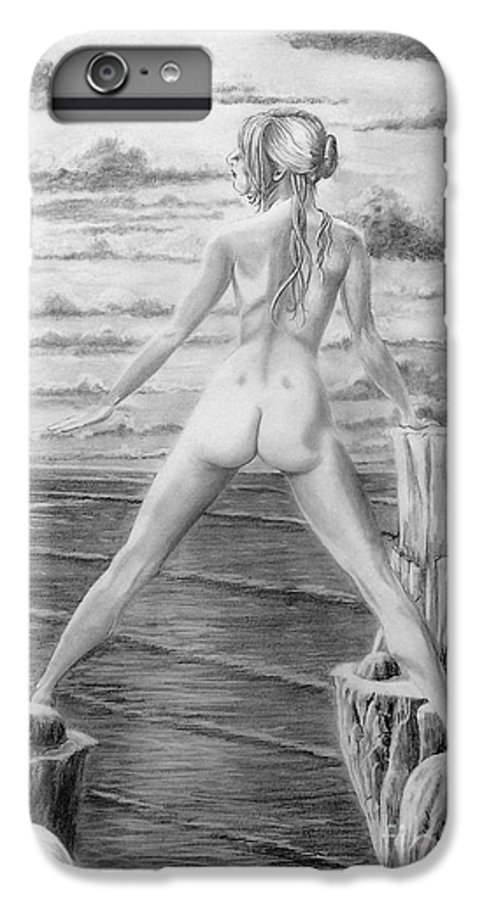 Nude IPhone 6s Plus Case featuring the drawing Wendy From Memory. by Murphy Elliott