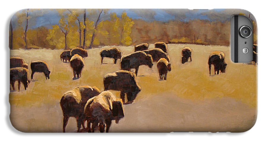 Buffalo IPhone 6s Plus Case featuring the painting Where The Buffalo Roam by Tate Hamilton