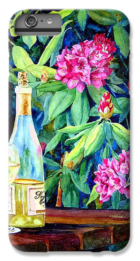 Rhododendron IPhone 6s Plus Case featuring the painting Wine And Rhodies by Karen Stark