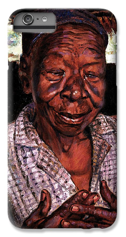 Black Woman IPhone 6s Plus Case featuring the painting Woman Of Faith by John Lautermilch