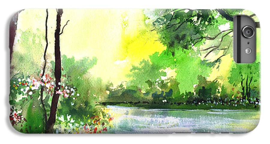 Sky IPhone 6s Plus Case featuring the painting Yellow Sky by Anil Nene