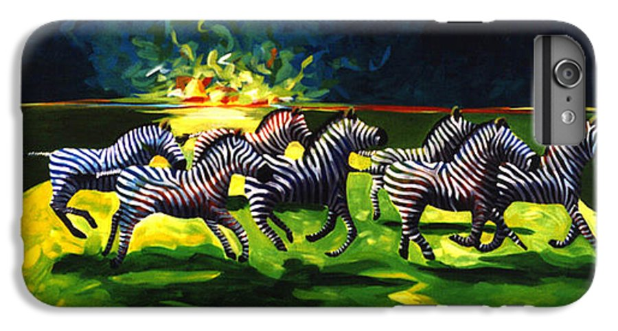 Modern IPhone 6s Plus Case featuring the painting Zebz by Lance Headlee