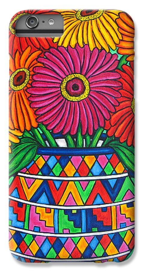 Zinnia IPhone 6s Plus Case featuring the painting Zinnia Fiesta by Lisa Lorenz
