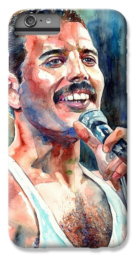 Freddie Mercury IPhone 6s Plus Case featuring the painting Freddie Mercury Live Aid by Suzann Sines