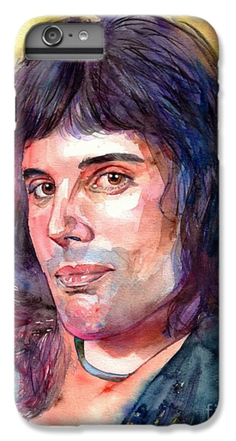 Freddie Mercury IPhone 6s Plus Case featuring the painting Freddie Mercury Young by Suzann Sines