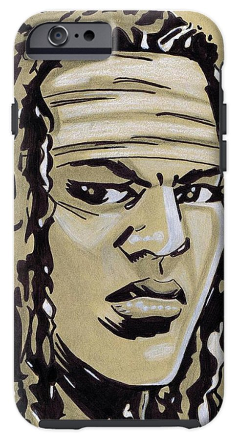 The IPhone 6s Tough Case featuring the drawing Michonne by Oscar Rodriguez III