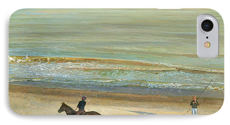 20th; Seaside; Suffolk; Riding; Horse; Rider; Fishing; Rod; Line; Fisherman; Talking; Exchanging Conversation; Sea; Footprints In The Sand IPhone 7 Case featuring the painting Beach Dialogue Dunwich by Timothy Easton