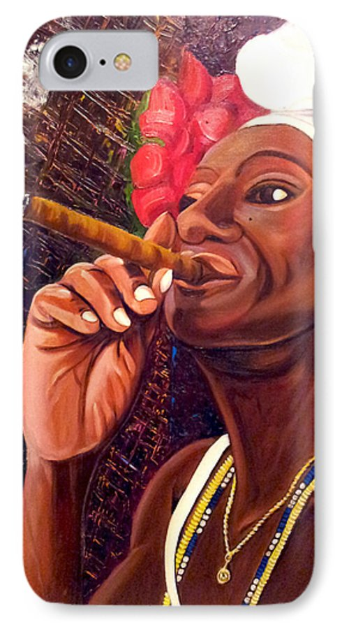Cuban Art IPhone 7 Case featuring the painting  Cigar Lady by Jose Manuel Abraham