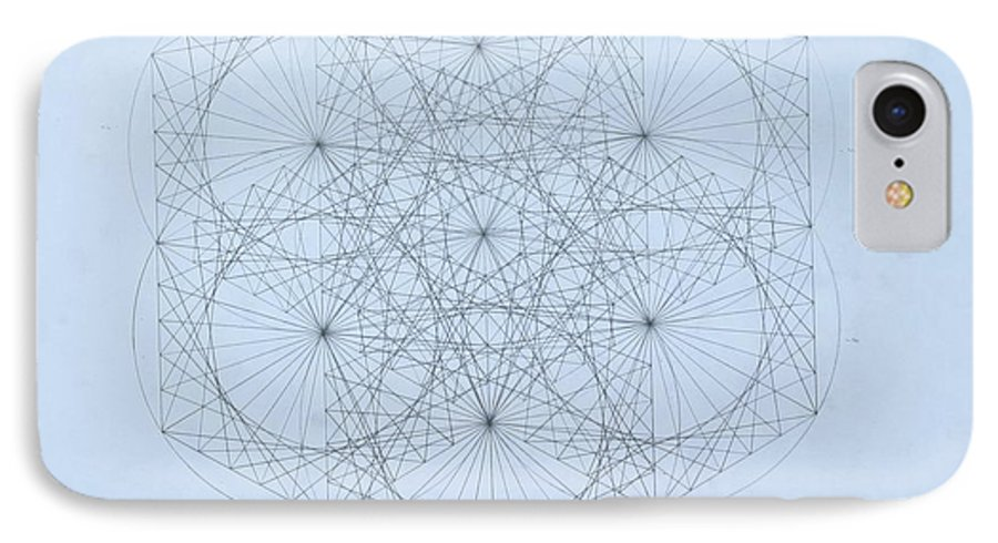 Jason Padgett IPhone 7 Case featuring the drawing Quantum Snowflake by Jason Padgett