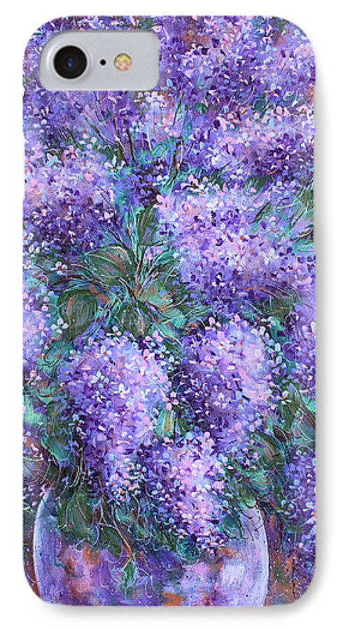 Flowers IPhone 7 Case featuring the painting Scented Lilacs Bouquet by Natalie Holland