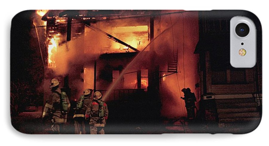 Fire IPhone 7 Case featuring the photograph 071506-4 Cleveland Firefighters On The Job by Mike Davis