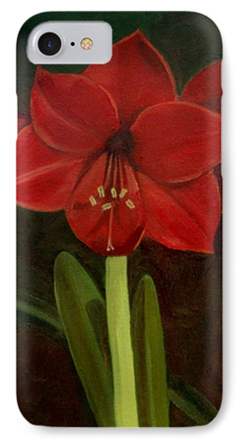 Amaryllis IPhone 7 Case featuring the painting Amaryllis by Nancy Griswold