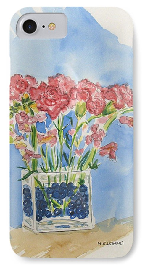 Flowers IPhone 7 Case featuring the painting Flowers In A Vase by Mary Ellen Mueller Legault